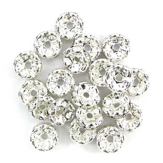 15 10mm silver plated rhinestone rondelle beads Clear findings