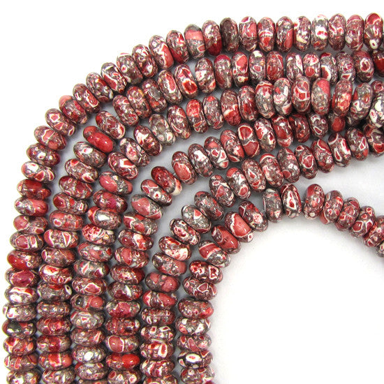 "10mm dk red mosaic flower turquoise rondelle beads 16"" strand"
