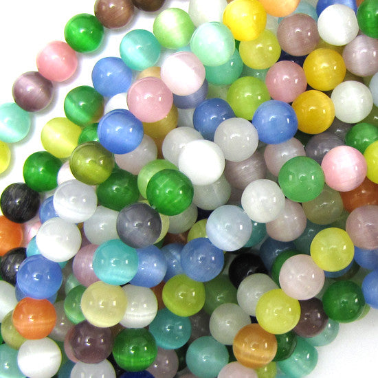 "8mm fiber optic cats eye round beads 14"" strand multicolor"