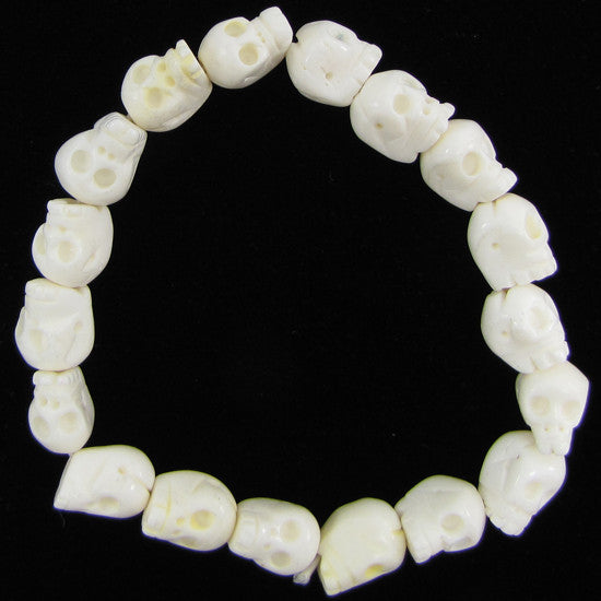 12mm white bone carved skull stretch bracelet 8""