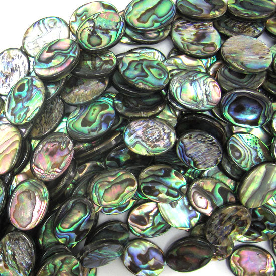 "20mm abalone shell flat oval beads 16"" strand"