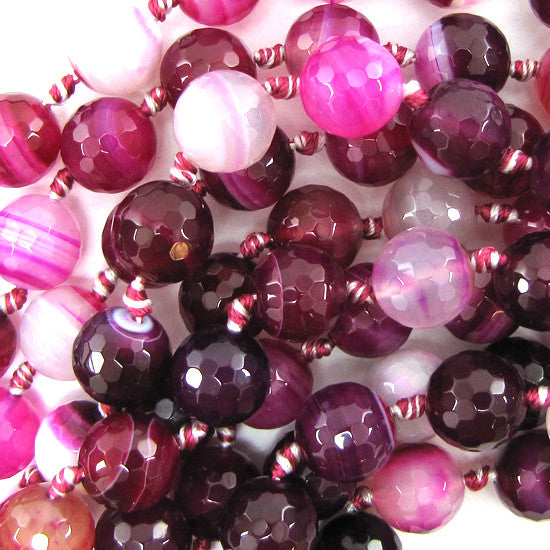 "12mm faceted magenta stripe agate round beads 7"" strand"