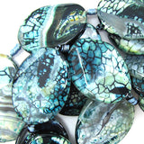 40mm twist green agate flat oval beads 7.5