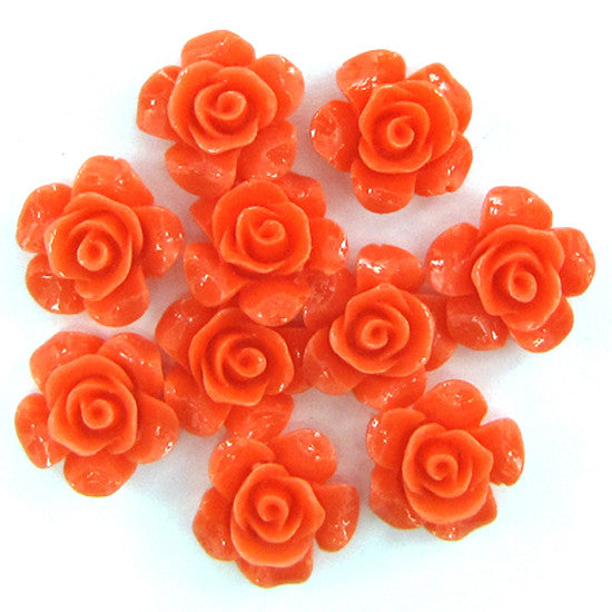 12mm synthetic pink coral carved rose flower pendant bead 10pcs