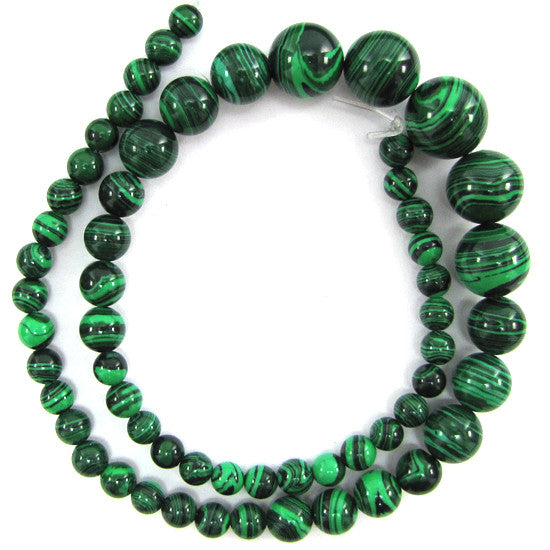 "6-14mm synthetic green malachite round beads 16"" strand"
