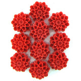 12mm synthetic red coral carved chrysanthemum flower pendant bead 10pcs