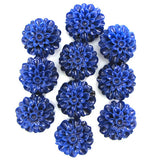 12mm synthetic dk blue coral carved chrysanthemum flower pendant bead 10pcs