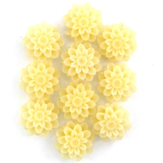 12mm synthetic cream coral carved chrysanthemum flower pendant bead 10pcs