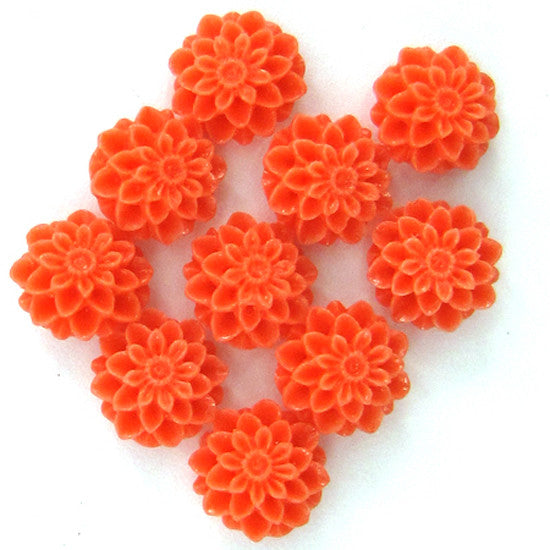 10mm synthetic pink coral carved chrysanthemum flower pendant bead 10pcs