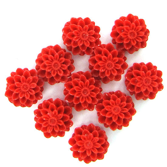 10mm synthetic red coral carved chrysanthemum flower pendant bead 10pcs