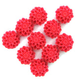 10mm synthetic magenta coral carved chrysanthemum flower pendant bead 10pcs