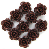 12mm synthetic brown coral carved rose flower pendant bead 10pcs