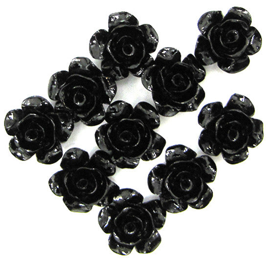 12mm synthetic black coral carved rose flower pendant bead 10pcs