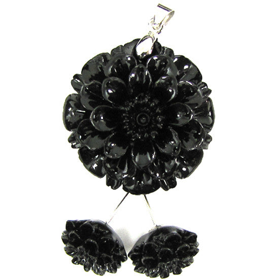 30mm synthetic coral carved chrysanthemum flower pendant earring pair black