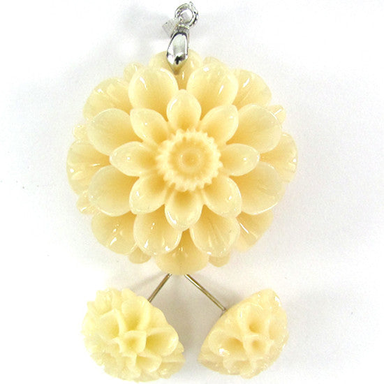 36mm synthetic coral carved chrysanthemum flower pendant earring pair cream