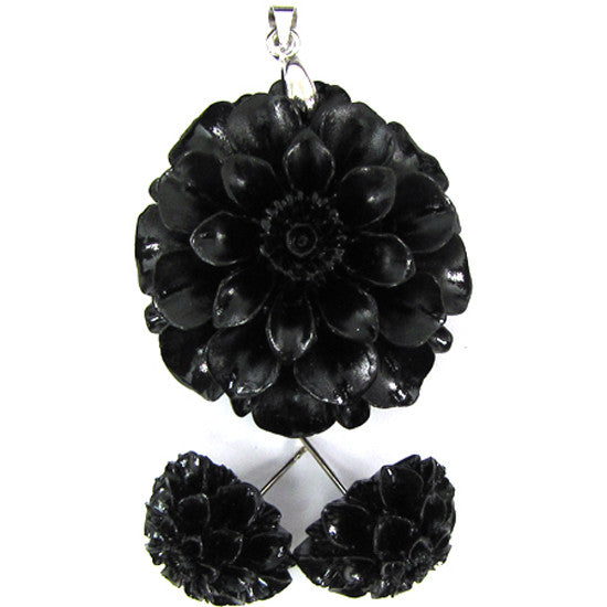 36mm synthetic coral carved chrysanthemum flower pendant earring pair black