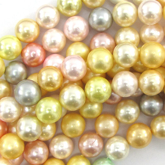"10mm multicolor shell pearl round beads 16"" strand S1"