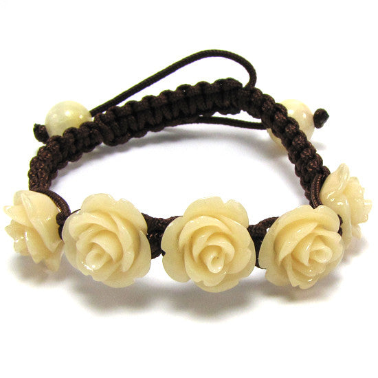 "14mm braided adjustable synthetic coral carved rose flower bracelet 7"" cream"