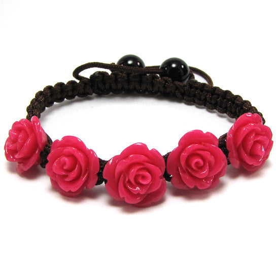"14mm braided adjustable synthetic coral carved rose flower bracelet 7"" magenta"