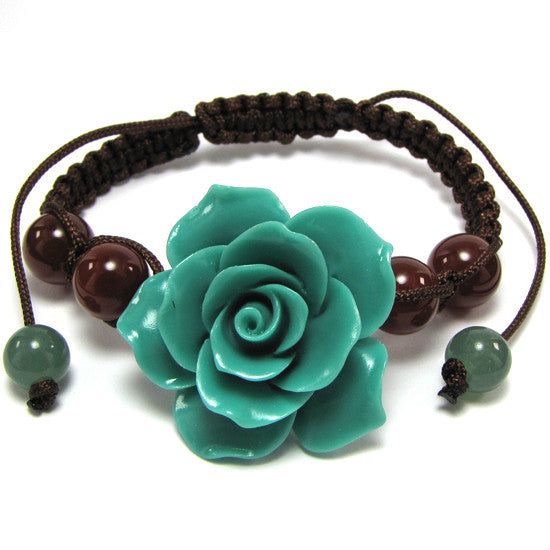 "34mm braided adjustable synthetic coral carved rose flower bracelet 7"" blue"