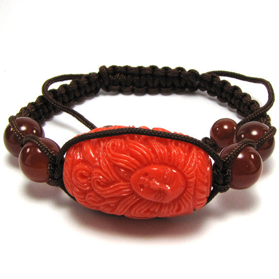 "20mm braided adjustable synthetic coral carved barrel bracelet 7"" pink"