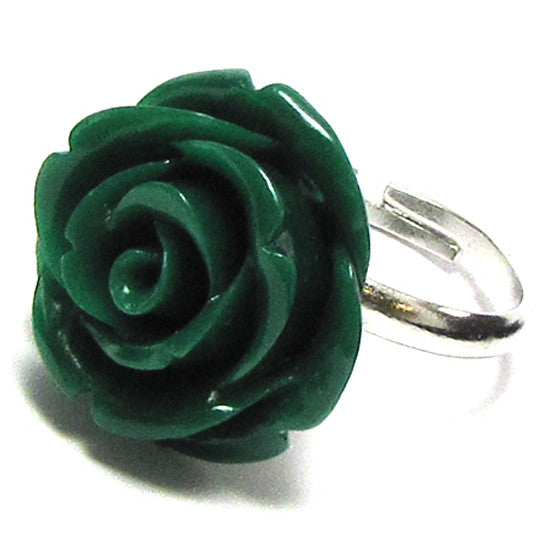 20mm dk green synthetic coral carved rose flower adjustable ring size 5-7