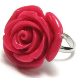 20mm lt pink synthetic coral carved rose flower adjustable ring size 5-7