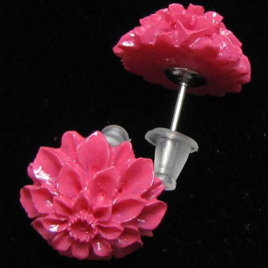 12mm synthetic coral carved chrysanthemum flower earring pair magenta