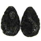 30x48mm synthetic coral carved mermaid pendant bead black