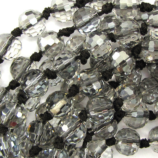 "10mm faceted quartz round beads 8"" strand clear 15pcs"