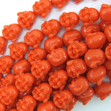 14mm synthetic coral carved buddha beads 14