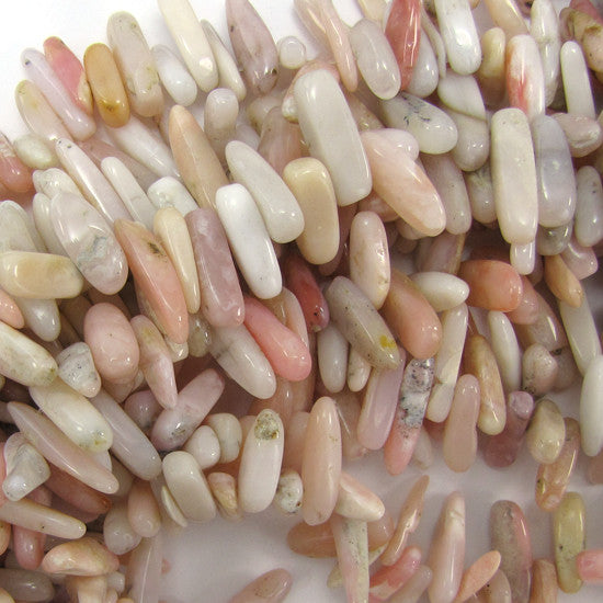 "12-24mm natural pink opal stick beads 15"" strand S1"