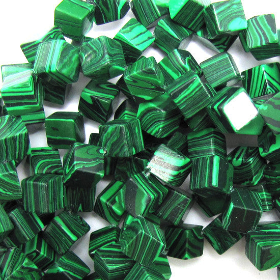 "6mm synthetic green malachite cube beads 15.5"" strand"