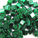 6mm synthetic green malachite cube beads 15.5