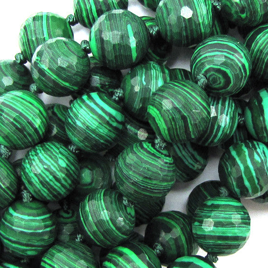 "12mm faceted synthetic green malachite round beads 7"" strand 12 pcs"
