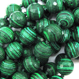 12mm faceted synthetic green malachite round beads 7