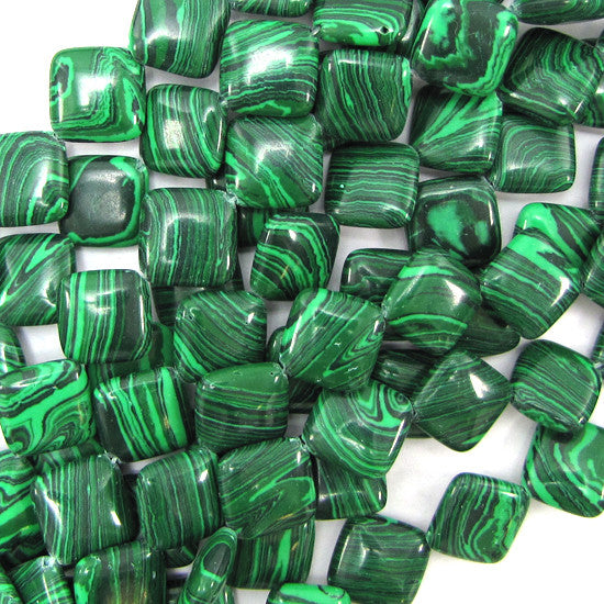 "14mm synthetic green malachite diamond beads 14"" strand"