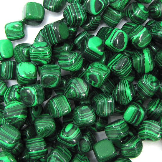 "8x8mm synthetic green malachite cube beads 16"" strand"