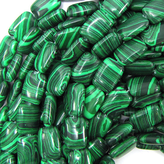 "10x14mm synthetic green malachite rectangle beads 16"" strand"