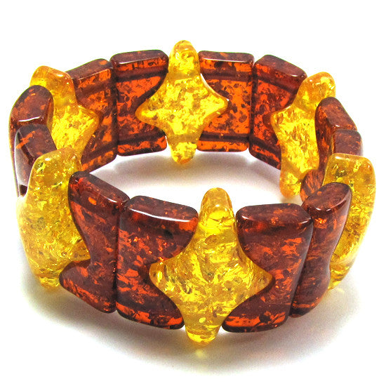 37mm multicolor synthetic honey amber stretch bracelet 8""