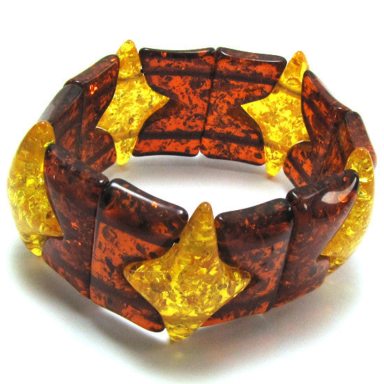 33mm multicolor synthetic honey amber stretch bracelet 8""