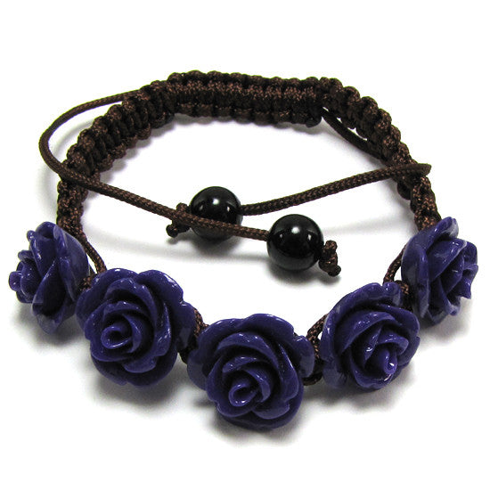 "14mm braided adjustable synthetic coral carved rose flower bracelet 7"" purple"