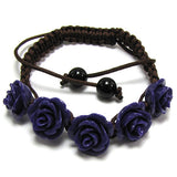14mm braided adjustable synthetic coral carved rose flower bracelet 7