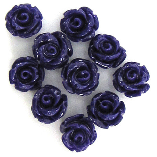 10 6mm synthetic coral carved rose flower pendant bead purple
