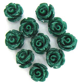 10 6mm synthetic coral carved rose flower pendant bead green
