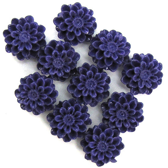 10mm purple synthetic coral carved chrysanthemum flower pendant bead 10pcs