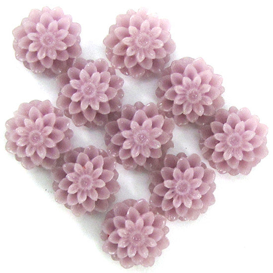 10mm lavender synthetic coral carved chrysanthemum flower pendant bead 10pcs