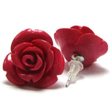 17mm synthetic coral carved rose flower earring pair magenta