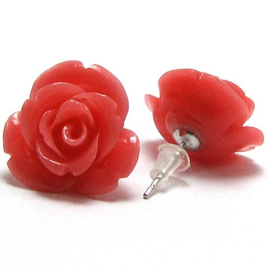 17mm synthetic coral carved rose flower earring pair pink
