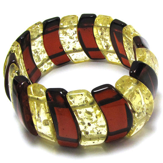 28mm synthetic multicolor amber stretch bracelet 8""